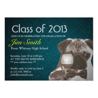 Classy Green Pug & Wine Graduation Party Invite