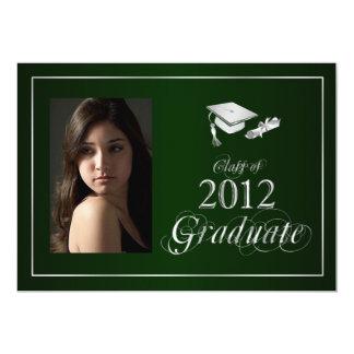 Classy Green & Silver 2012 Graduate Photo Invite