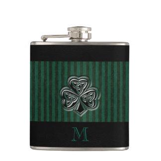Classy grundge Irish lucky shamrock monogram Hip Flask