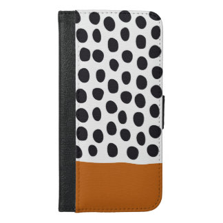 Classy Handpainted Polka Dots with Autumn Maple iPhone 6/6s Plus Wallet Case