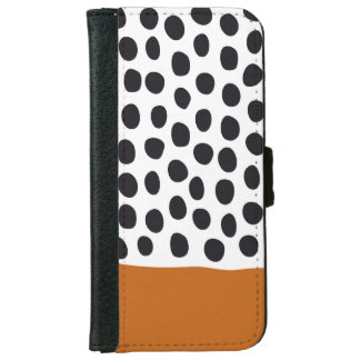 Classy Handpainted Polka Dots with Autumn Maple iPhone 6 Wallet Case