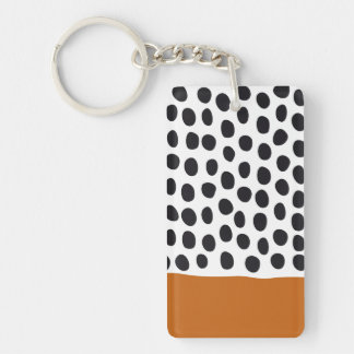 Classy Handpainted Polka Dots with Autumn Maple Keychain