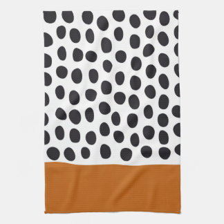 Classy Handpainted Polka Dots with Autumn Maple Kitchen Towel