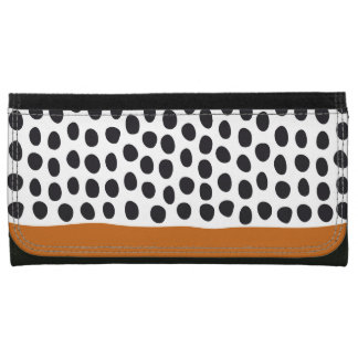 Classy Handpainted Polka Dots with Autumn Maple Leather Wallet