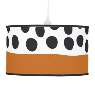 Classy Handpainted Polka Dots with Autumn Maple Pendant Lamp