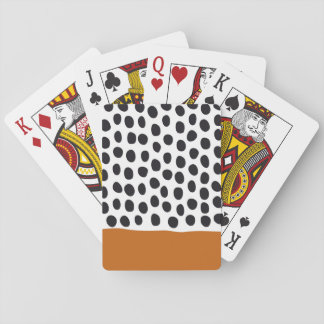 Classy Handpainted Polka Dots with Autumn Maple Playing Cards