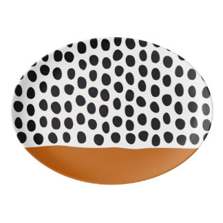 Classy Handpainted Polka Dots with Autumn Maple Porcelain Serving Platter