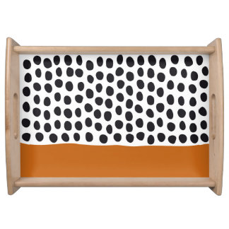 Classy Handpainted Polka Dots with Autumn Maple Serving Tray
