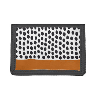Classy Handpainted Polka Dots with Autumn Maple Trifold Wallets