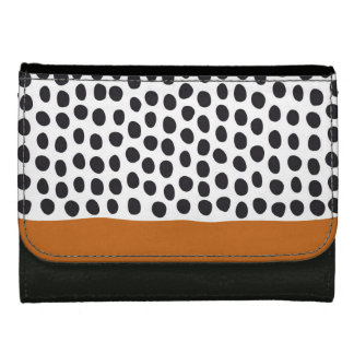 Classy Handpainted Polka Dots with Autumn Maple Wallet For Women