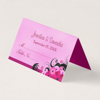 Classy Hibiscus Floral Light Fuchsia Folded Table Place Card