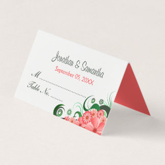 Classy Hibiscus Floral Pink White Wedding Table Place Card