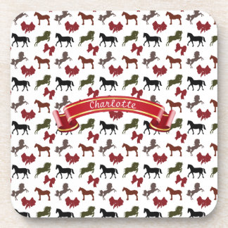 classy Horses  and Bows Pattern Custom Beverage Coaster