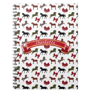 classy Horses  and Bows Pattern Custom Notebook