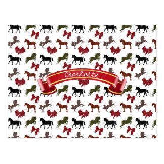 classy Horses  and Bows Pattern Custom Postcard