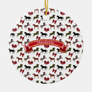 classy Horses  and Bows Pattern Custom Round Ceramic Ornament