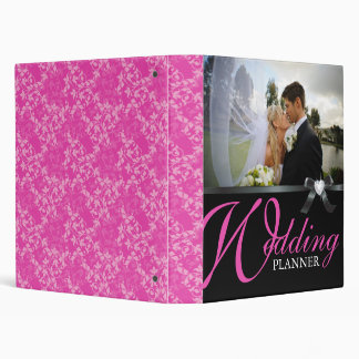 Classy Hot Pink and Black Wedding Photo Album 3 Ring Binders