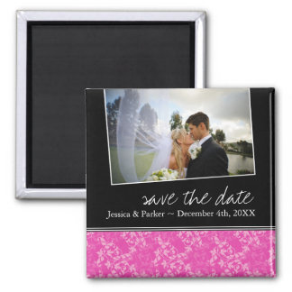 Classy Hot Pink Save the Date Magnet