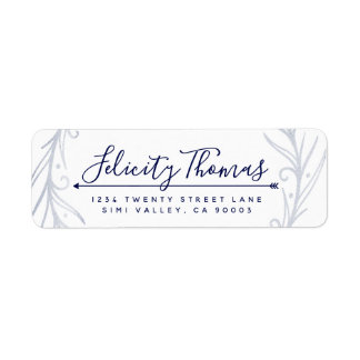 Classy Indigo Silver Peacock Feather Address Label