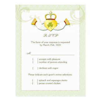 Classy Irish Wedding RSVP n Menu Choice Postcard
