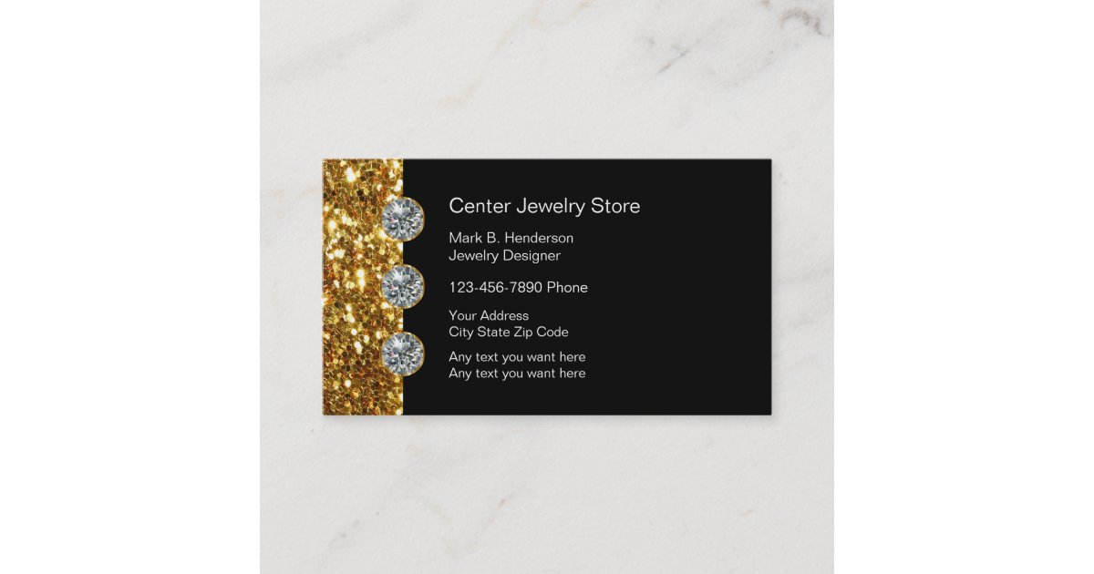 Classy jewellery store business card zazzle reheart