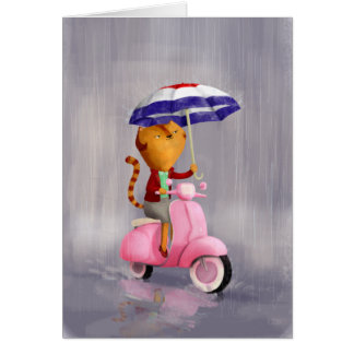 Classy Kitty Cat on pink scooter Greeting Card