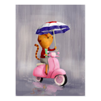 Classy Kitty Cat on pink scooter Postcard
