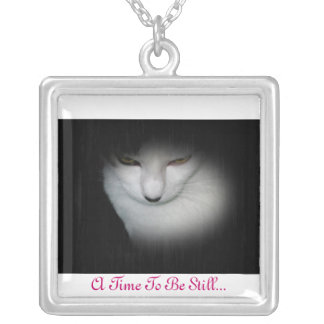 Classy Kitty Necklace, A Time To Be Still... Silver Plated Necklace