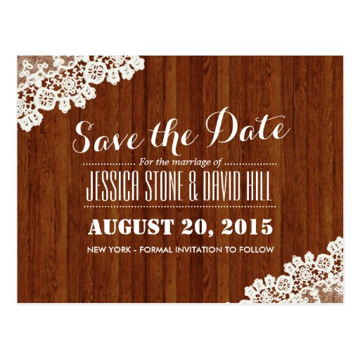 Classy Lace Corner Wood Background Save the Date Post Cards