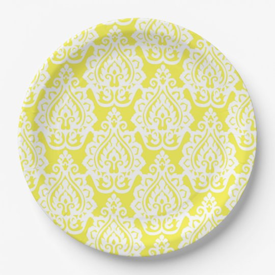 Classy Lace Yellow and White Paper Plates 9 Inch Paper Plate