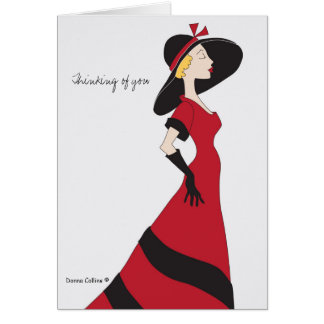 Classy Lady Red Dress Note Card