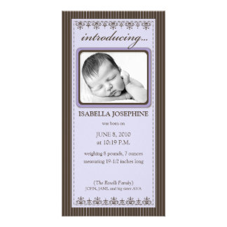Classy Lavender Customized Birth Announcement Photo Card