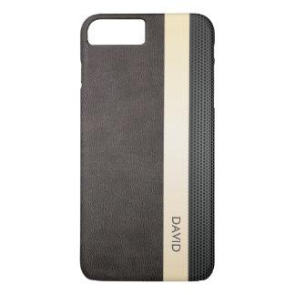 Classy Leather Gold Stripe Custom Name iPhone 8 Plus/7 Plus Case