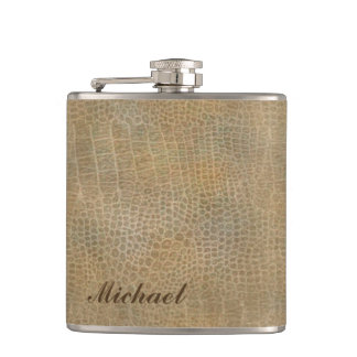 Classy leather look masculine  personalized No.1 Flask