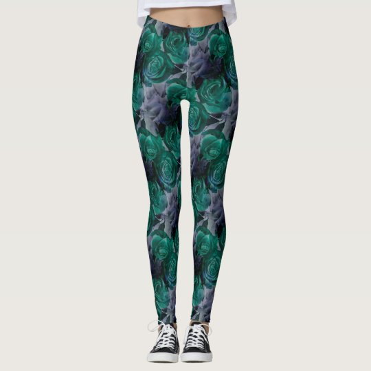 Classy leggings with dark coloured roses