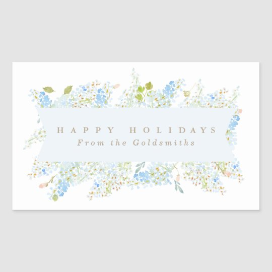 Classy Light Blue Floral Happy Holidays Custom Sticker