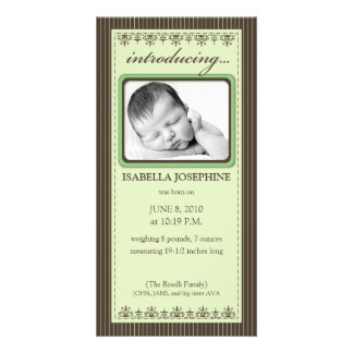 Classy Lime Green Customized Birth Announcement Photo Cards