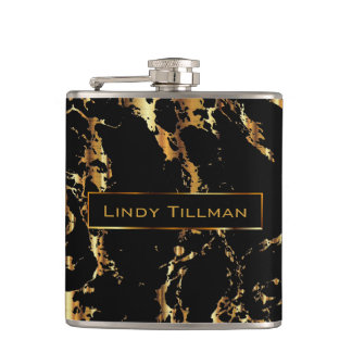 Classy Marble Black Stone with Gold Design Flask