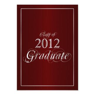 """Classy Maroon and Silver 2012 Graduate Invitation 5"""" X 7"""" Invitation Card"""