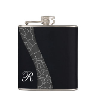Classy masculine monogram personalized black No.1 Hip Flask