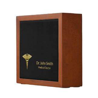 Classy Medical Gold Caduceus Black Desk Organizer