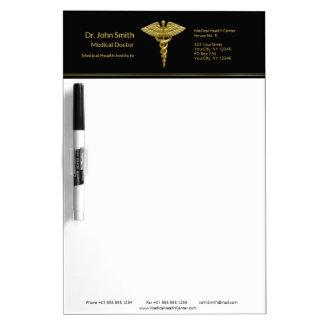 Classy Medical Gold Caduceus Black Dry Erase Board
