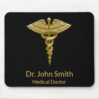 Classy Medical Gold Caduceus on Black - Mousepad