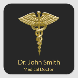 Classy Medical Gold Caduceus on Black - Sticker