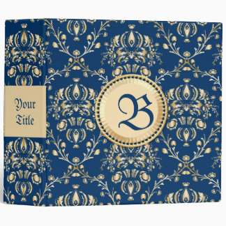 Classy Medieval Monogram Gold Midnight Blue Damask 3 Ring Binders