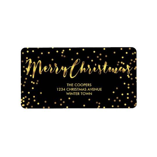 Classy Merry Christmas Gold Foil Confetti Black