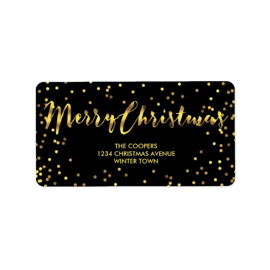 Classy Merry Christmas Gold Foil Confetti Black Label