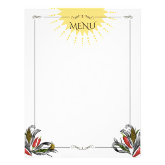 Classy Mexican corn peppers menu letterhead