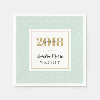 Classy Mint and Gold Personalized Graduation Paper Napkin