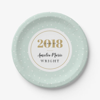 Classy Mint and Gold Personalized Graduation Paper Plate